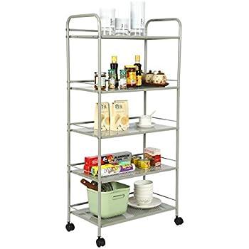 Amazon Com Slim Rolling Pantry 6 Tier Shelf White Metal