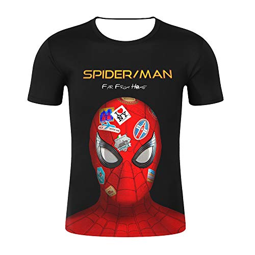 BADAWO Men's Spiderman Hero Far from Home Round Collar Short Sleeves T-Shirt Black Red Color (XS)
