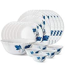 Larah by Borosil Ageria Opalware Dinner Set, 19-Pieces, White