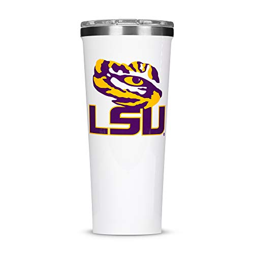 Corkcicle  Tumbler - 24oz NCAA Triple Insulated Stainless Steel Travel Mug, LSU - Louisiana State University Tigers, Big Logo
