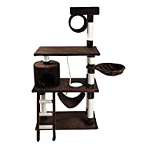 """iPet 65"""" Cat Tree Condo Cat Furniture Scratching Post Pet House Cat Exercise Tree in Brown"""