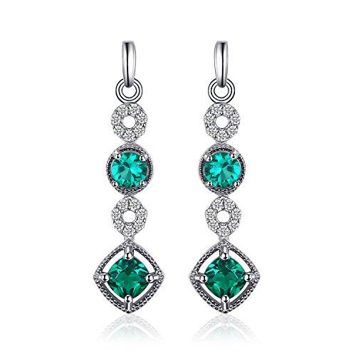 t 0.9ct Nano Russian Simulated Emerald Drop Earrings 925 Sterling Silver (Tiffany Emerald Earrings)
