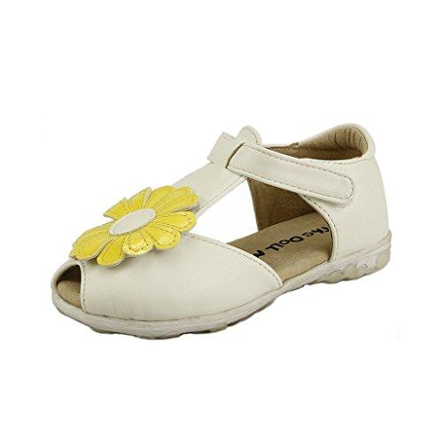 White T-strap Doll Shoes - The Doll Maker Open Toe T Strap Sandal - FBA1621014A-4 White