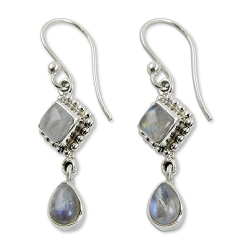 NOVICA .925 Sterling Silver and Rainbow Moonstone Dangle Earrings, Queen of Diamonds' (Earrings Moonstone Diamond)