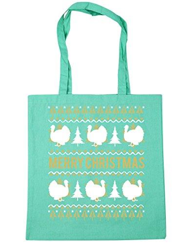 HippoWarehouse feliz Turquía Navidad Tote Compras Bolsa de playa 42cm x38cm, 10litros verde menta