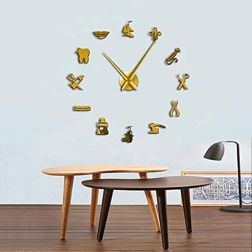 LSDGZDM Wall Clock Dentist Tools Frameless 3D Wall Clock Dental Practitioners Clinic Stomatological Hospital Orthodontics Room Art Decor Clock 47inch Gold