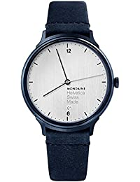 'Helvetica' Swiss Quartz Stainless Steel and Leather Casual Watch, Color Blue (Model: MH1.L2210.LD)