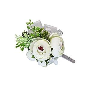 MARJON FlowersArtificial Peony Silk Flower Boutonniere Bouquet Corsage Wristlet Vintage Silk Fake Succulent Plants with Pink Ribbon for Wedding Decor (White) 106