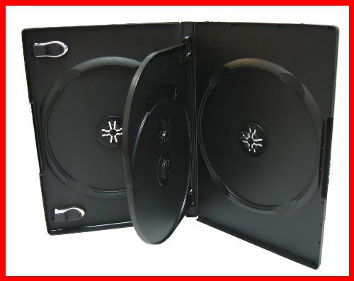 14mm CD DVD Storage Case 4 Discs Black With Tray Quad Holder Box 20 Pack Premium Quality ()