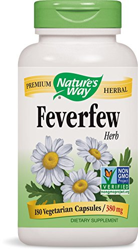 Nature's Way Feverfew; 380 mg per serving; TRU-ID Certified; Non-GMO Project; Vegetarian; 180 Vegetarian Capsules