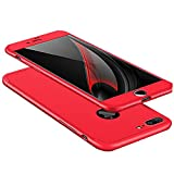 KMISS iPhone 8 Plus Case, iPhone 7 Plus Case, 3-in-1 Ultra Thin and Slim Hard PC Case Anti-Scratches Premium Slim 360 Degree Full Body Protective Cover for Apple iPhone 7/8 Plus 5.5 inch (Red)