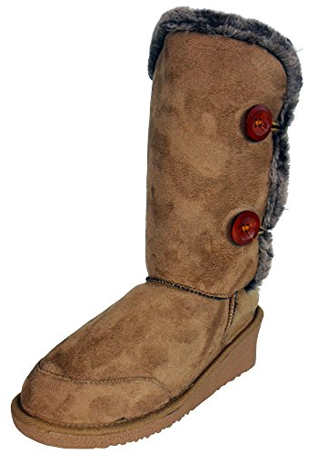 New Ladies Womens Casual Fur Comfy Wedge Boots Fashion Style Winter Boot Snugg Beige