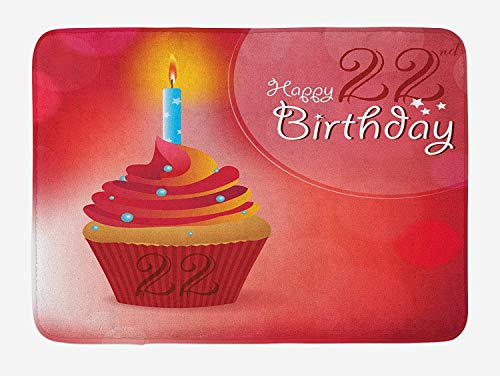 Weeosazg 22nd Birthday Bath Mat, Cute Cupcake with Candles Romantic Celebration Themed Illustration, Plush Bathroom Decor Mat with Non Slip Backing, 31.5 X 19.7 Inches, Red Scarlet -