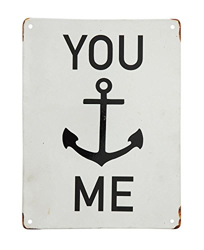 Metal Sign Enamel (You ... Me Vintage Baked Enameled Style Metal Wall Décor 10-in L)