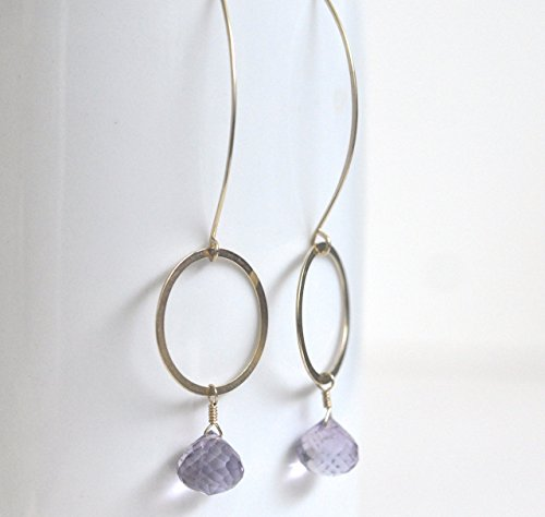 Amethyst Drop Earrings - Gold Filled Circle Earrings -