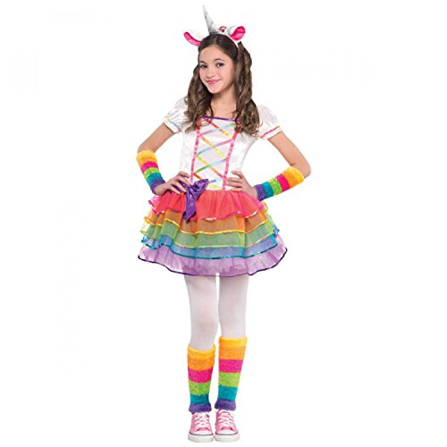 Amscan Girls Rainbow Unicorn Costume - Medium (8-10), Multicolor ()