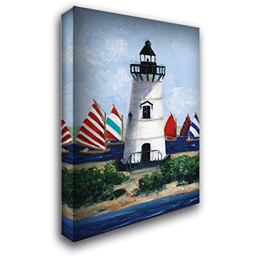 Brandt Point Lighthouse 28x38 Gallery Wrapped Stretched Canvas Art by Swatland, Sally