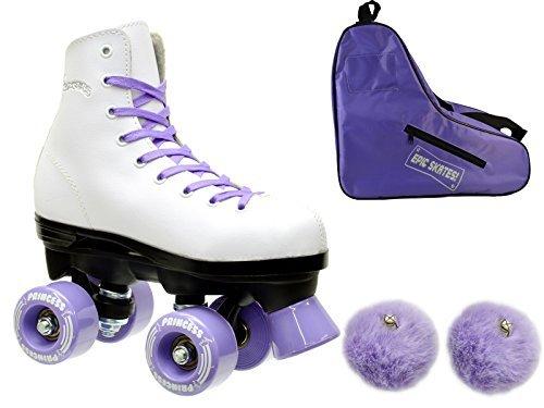 Girls Epic Purple Princess Indoor Outdoor Quad Roller Skates 4 Pc. Bundle (Juvenile 11)