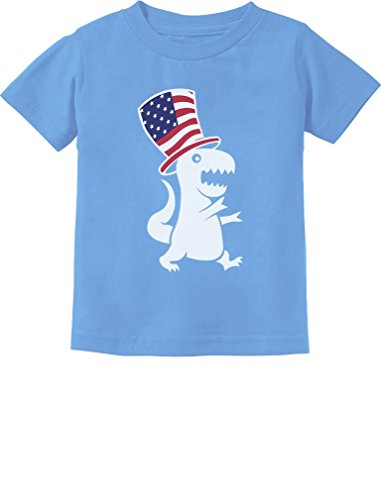 American T-Rex Dinosaur USA Flag 4th of July Toddler/Infant Kids T-Shirt 5/6 California Blue]()