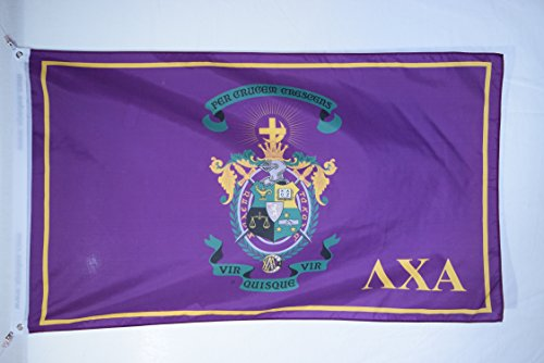 Printed Polyester Grommets - Lambda Chi Alpha Crest Premium Licensed Flag 3x5 Feet for Home, Business, Basement, Garage. Durable 100% Polyester, Metal Grommets for Hanging, Printed on Demand