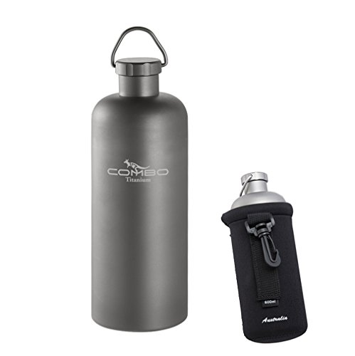 COMBO Lightweight Titanium Water Bottle, 21-OZ Hydro Travel-Mug Super Strong with Lid (600ML)