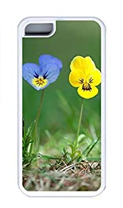 iPhone 5C Case, Personalized Custom Rubber TPU White Case for iphone 5C - Blue Yellow Flowers Cover