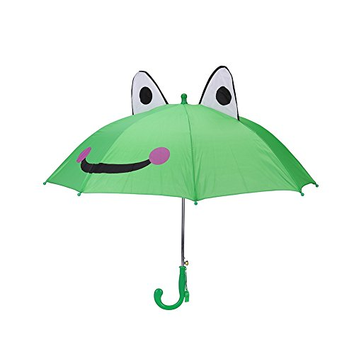Kids Rain Umbrella, 18 Inch Half Automatic Handle for Boys Girls with 3D Ears - Mario Frog