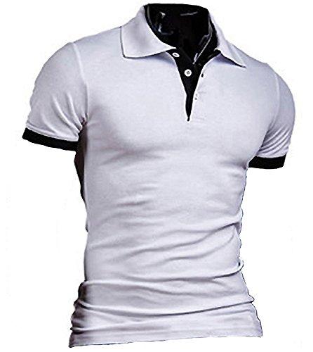 (SGL Collection) ポロシャツ メンズ 半袖 シンプル デザイン スリムフィット バイカラー スキッパー 6色選択 サイズ S ~ XL 【 日本向け オリジナル サイズ仕様 】