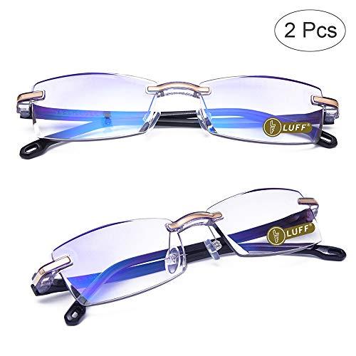 LUFF Premium Computer Reading Glasses Blue Light Blocking Diamond Cut Edge Design Spectacle Readers for Men(+2.0)