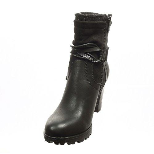 Angkorly - Chaussure Mode Bottine low boots bi-matière femme multi-bride peau de serpent brillant Talon haut bloc 8 CM - Intérieur Fourrée - Noir