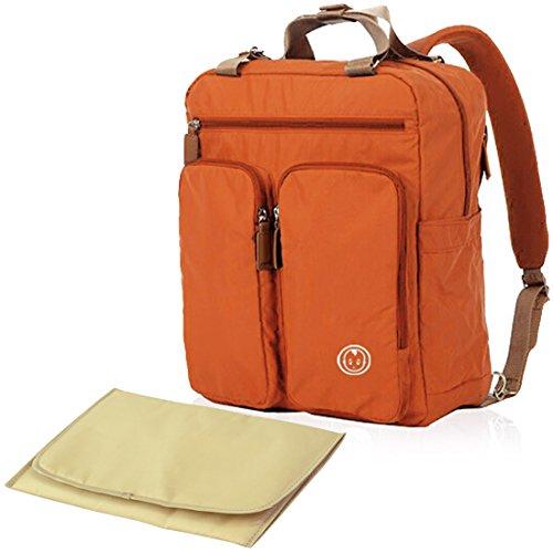 KF Baby MAS Travel Backpack Diaper Bag, Orange + Changing Pa