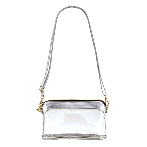SB Design Studio Hold Everything Stadium Bag, 6.25 x 4.75 x 2, Clear/Silver