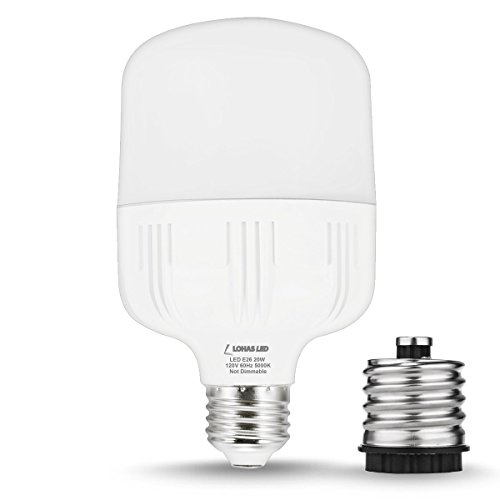 LOHAS LED Bulbs, 150Watt Equivalent 20W T80 E26 LED Bulb, With FREE E26-to-E39 Converter, 2200 Lumens, Daylight 5000K, for Garage Garden Street Factory Warehouse Outdoor Security Lights