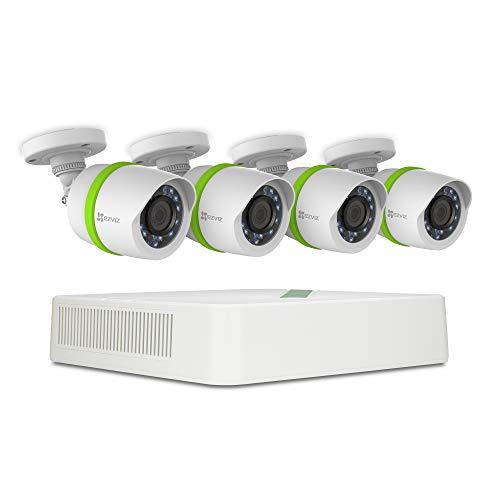 Refurbished: EZVIZ Full HD 1080p Outdoor Surveillance System, 4 Weatherproof HD Security Cameras, 4 Channel 1TB DVR Storage, 100ft Night Vision, Customizable Motion Detection