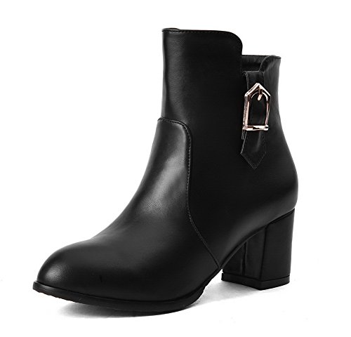 Zipper Women's Materials Boots Blend Kitten Solid Heels Closed Black WeenFashion Toe Round qgIwOq