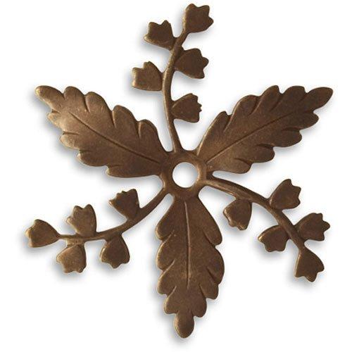 Vintaj Natural Brass Fastenables Whimsical Spray Leaf Stamping 33mm