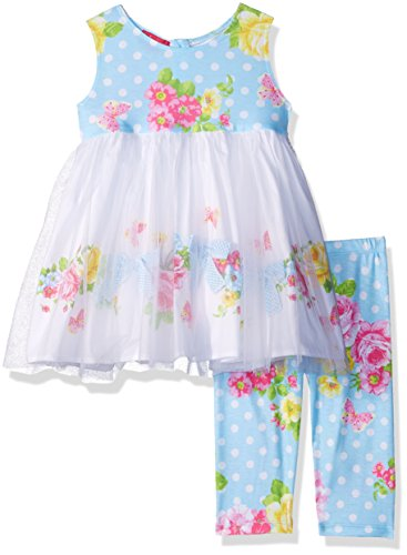 Kate Mack Toddler Girls' Garden Roses Tunic and Legging Set, Blue, 2T (Kate Bow Mack)