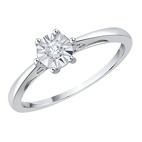 Diamond Promise Ring in Sterling Silver (1/10 cttw) (GH-Color, I2/I3-Clarity) (Size-9.25) by KATARINA