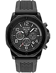 Bulova Marine Star Black Dial SS Rubber Chrono Quartz Mens Watch 98B223