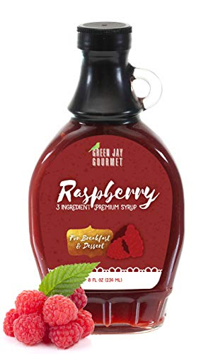 (Green Jay Gourmet Raspberry Syrup - 3 Ingredient Premium Breakfast Syrup with Fresh Raspberries, Cane Sugar & Lemon Juice - All-Natural, Non-GMO Pancake Syrup, Waffle Syrup & Dessert Syrup - 8 Ounces)