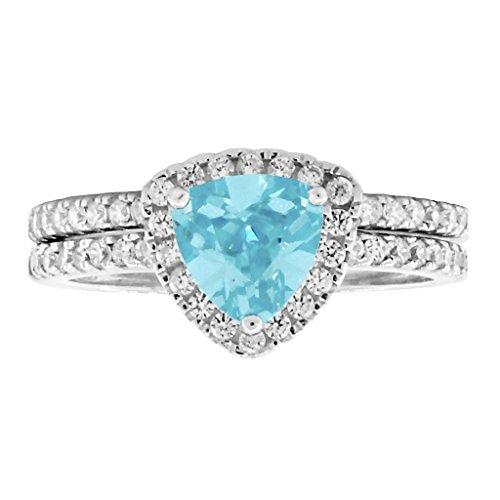 Acotas: 1.83ct Trillion-cut Simulated Aquamarine 2 pc Wedding Ring Set Silver, 3281-3282 sz 7.0