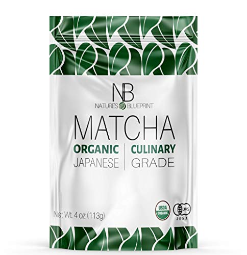 Nature's Blueprint Matcha- Culinary Grade Green Tea Powder - Made from Pure and Organic Japanese Leaves - Unsweetened Raw and Vegan - Contains Powerful Anti Inflammatory Properties for Healing