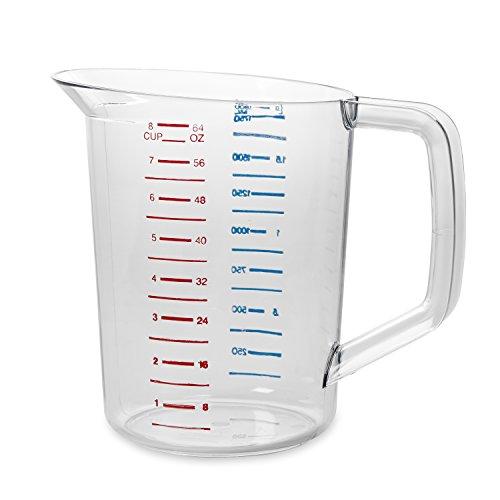 Rubbermaid Commercial Bouncer Measuring Cup, 2-Quart, Clear, FG321700CLR