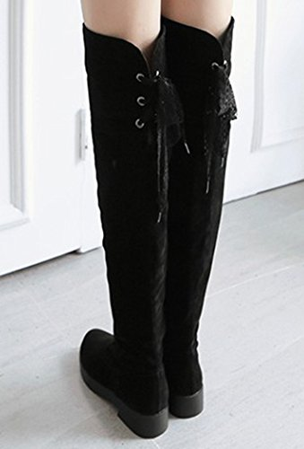Chunky Boots Booties Long IDIFU Womens Heels Low Over Zipper With High Black Knee Sweet The wZqUtza
