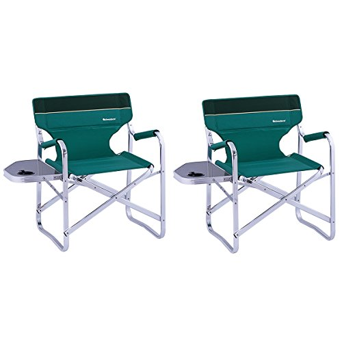 OnwaySports 2 Pack Aluminum Frame Director Chair with Side Table Lightweight Foldable Portable for Camping in Green (New Folding Directors Chair)