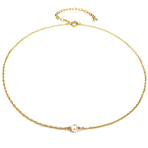 Dainty Choker Necklace, Simulated Freshwater Pearl for Women Girls, 14K Gold Filled Find Chain, Black leather, Layered Set in Gold/Rose, Made in USA (Tiny Single - 70 Ideas 60 Costume 80