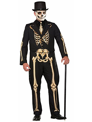 Forum Men's Skeleton Suit Formal Attire with Jacket and Pants, Black/White, (Bones Halloween Mix 2017)