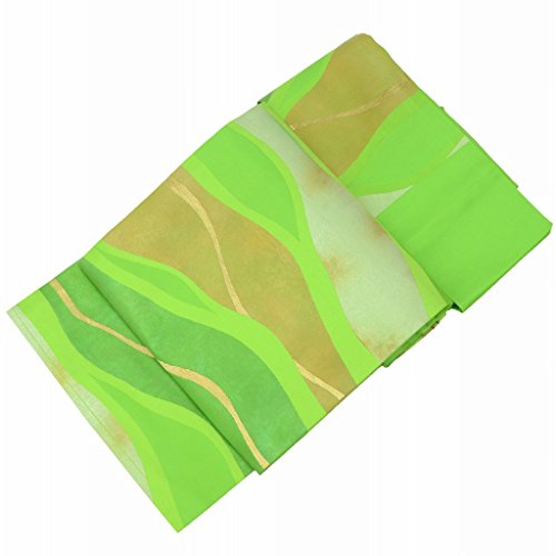 北東マイルラウンジリサイクル 名古屋帯 中古 正絹 九寸 なごやおび 緑系 抽象文様 美品 ll0894b【中古】【着物ひととき】