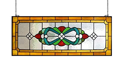 Yogoart Large Tiffany Style Stained Glass Window Hanging Horizontal Stained Glass Window Panels 30