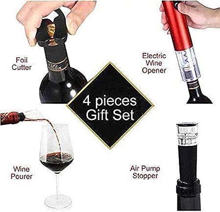 Sacacorchos eléctrico, abrebotellas eléctrico, abrebotellas de vino, incluye accesorios de vino, cortador de papel de aluminio, tope de vino de vacío, 1 paquete rojo